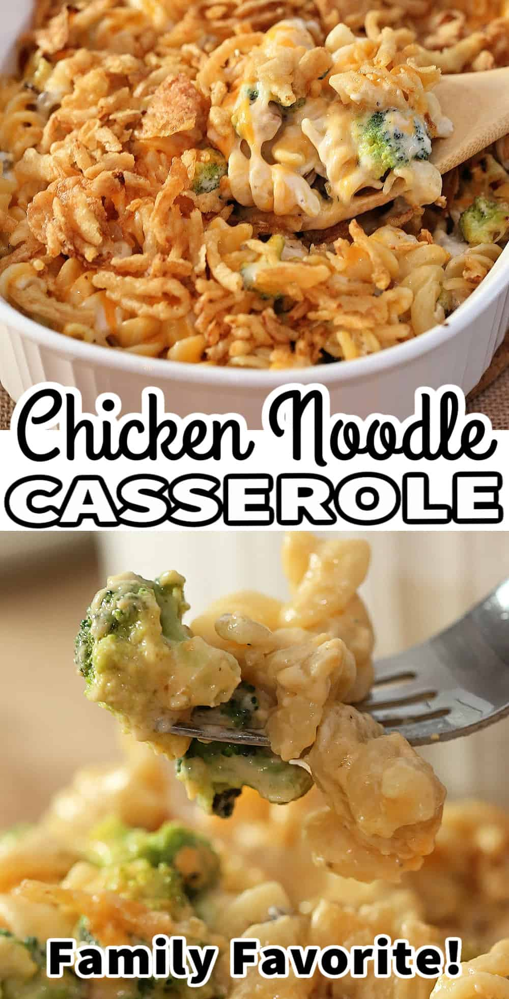 chicken noodle casserole with text