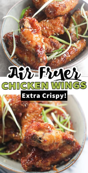 air fryer chicken wings with text