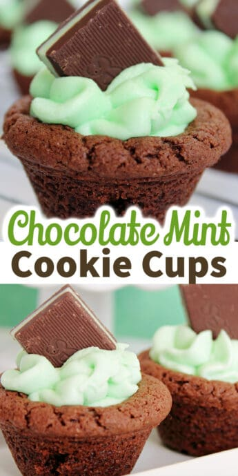 mint chocolate cookie cups with text