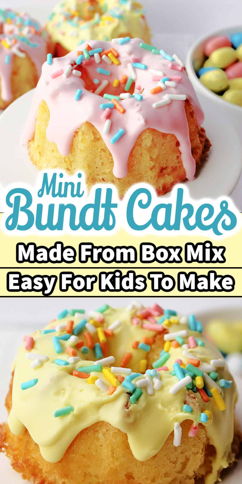 easter mini bundt cakes with text