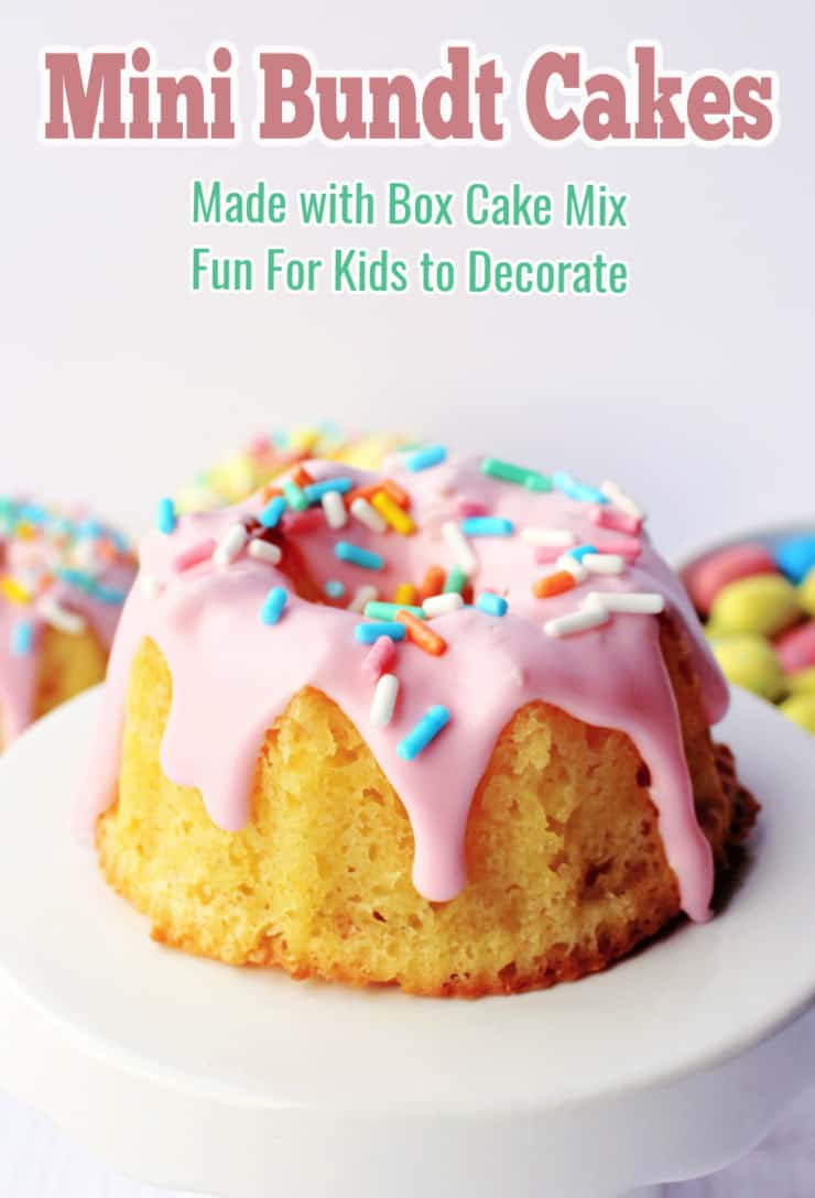 mini easter bundt cake recipe with text
