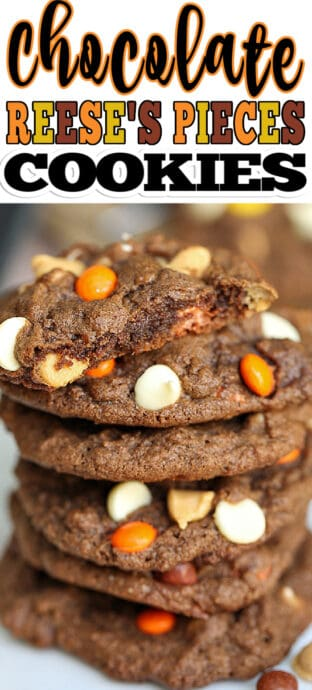 a stack of reese's pieces cookies with text