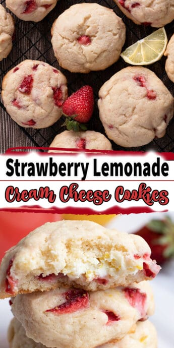 strawberry lemonade cream cheese cookies with text