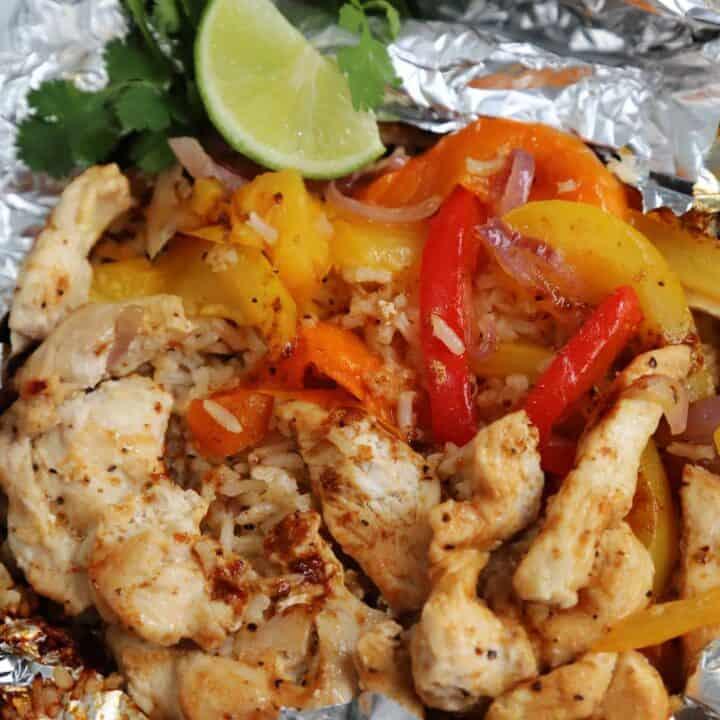 gilled Chicken Fajita Foil Pack open on a table
