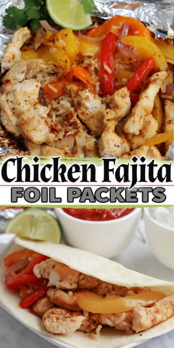 grilled Chicken Fajita Foil Packs recipe with text