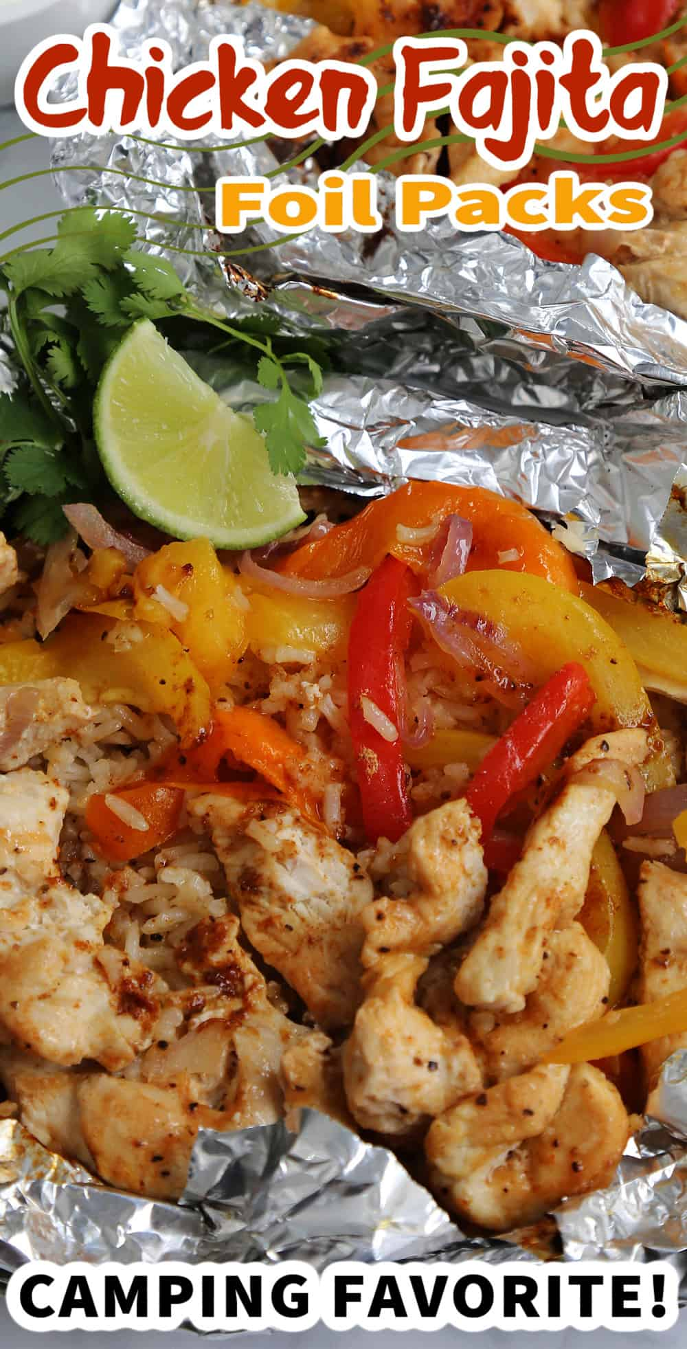 Chicken Fajita Foil Packets with text overlay