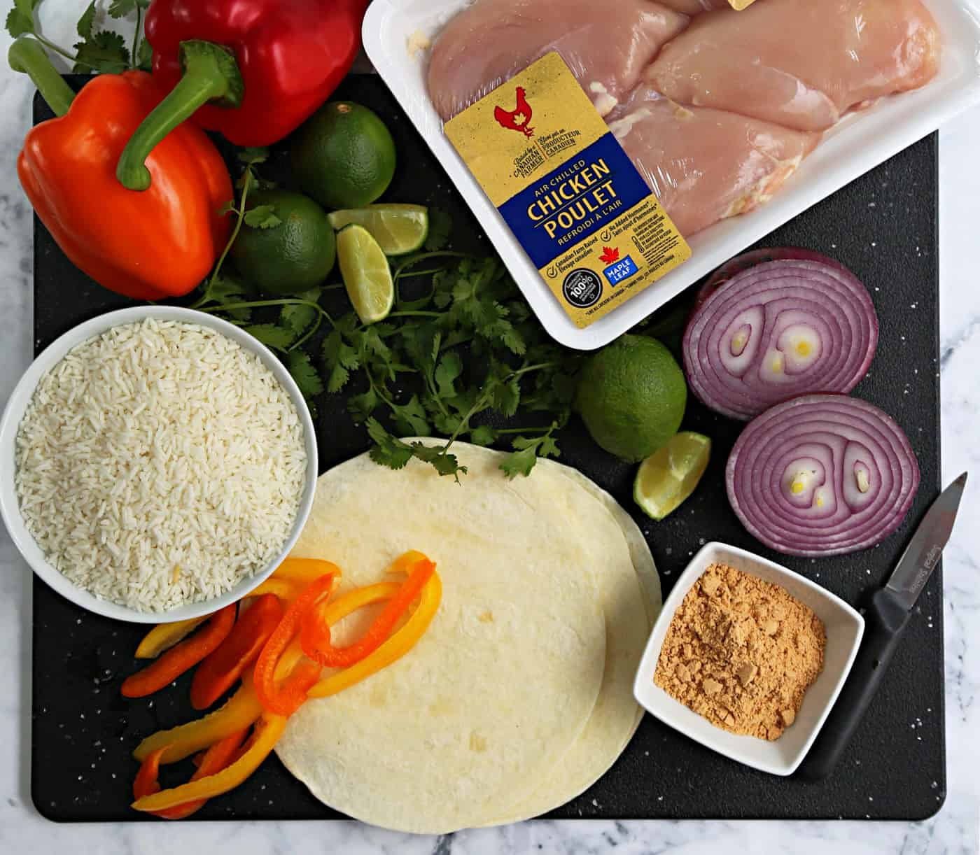 ingredients to make Chicken Fajita Foil Packets