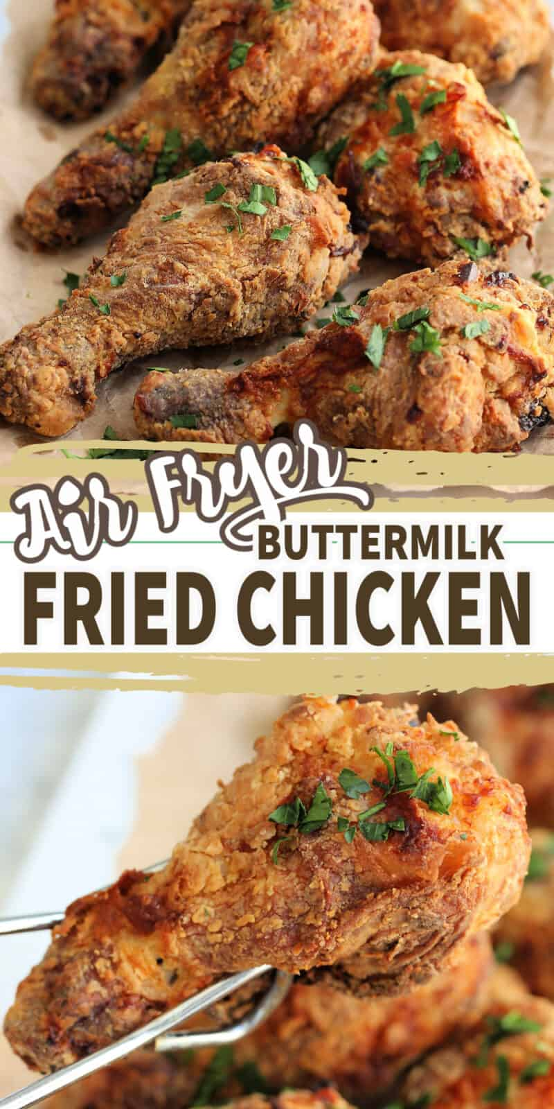 fried chicken drumsticks with text