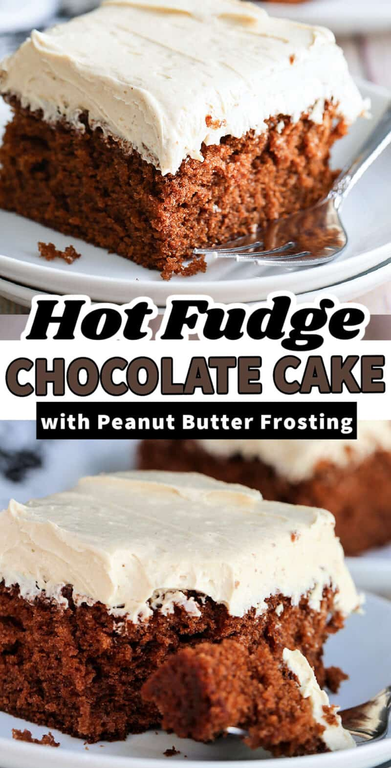 hot fudge cake on a plate with text