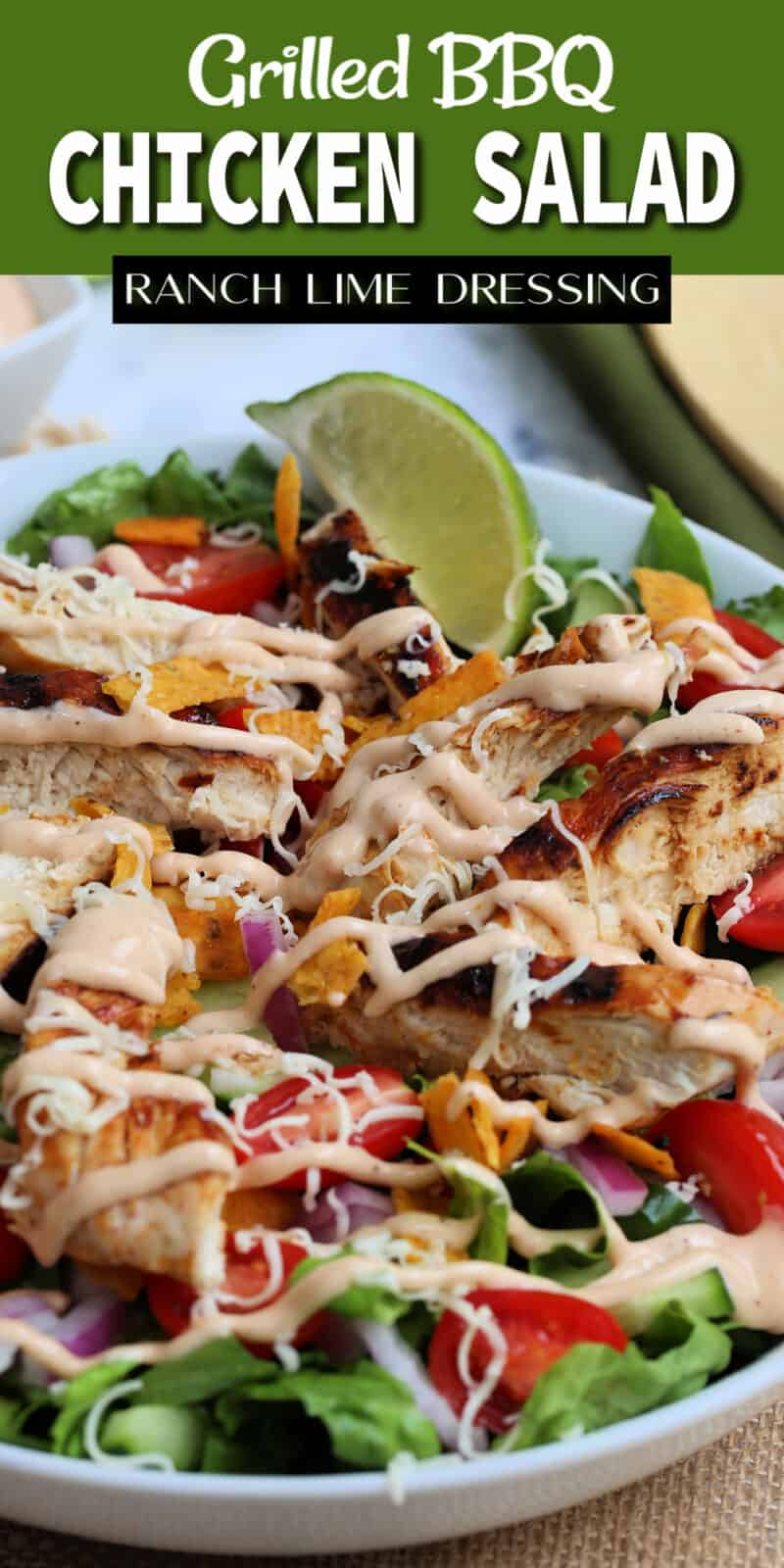 bbq chicken salad with dressing drizzled on the salad with text overlay