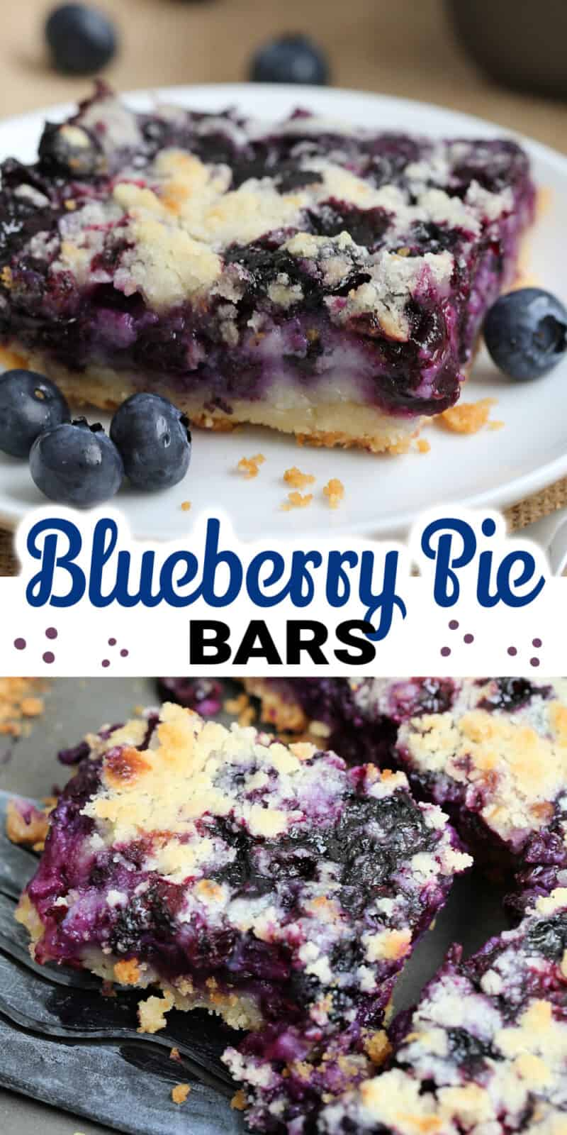 two images of blueberry bars with title text between them