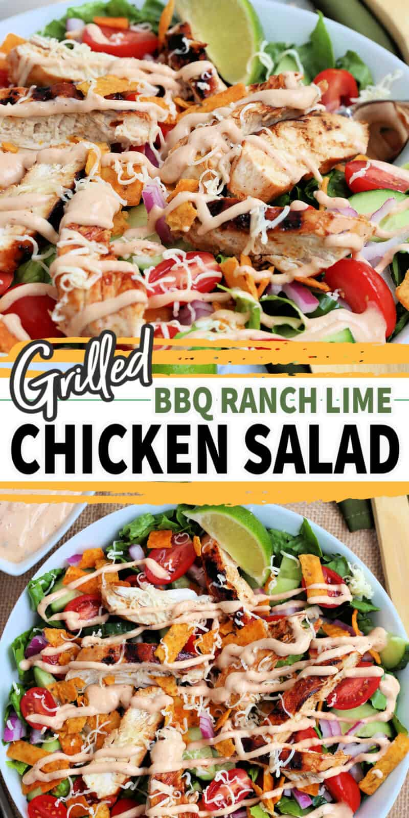 grilled bbq lime and ranch salad in a bowl with text
