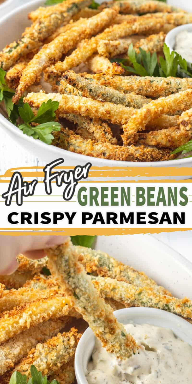 air fryer green beans in a white bowl with text
