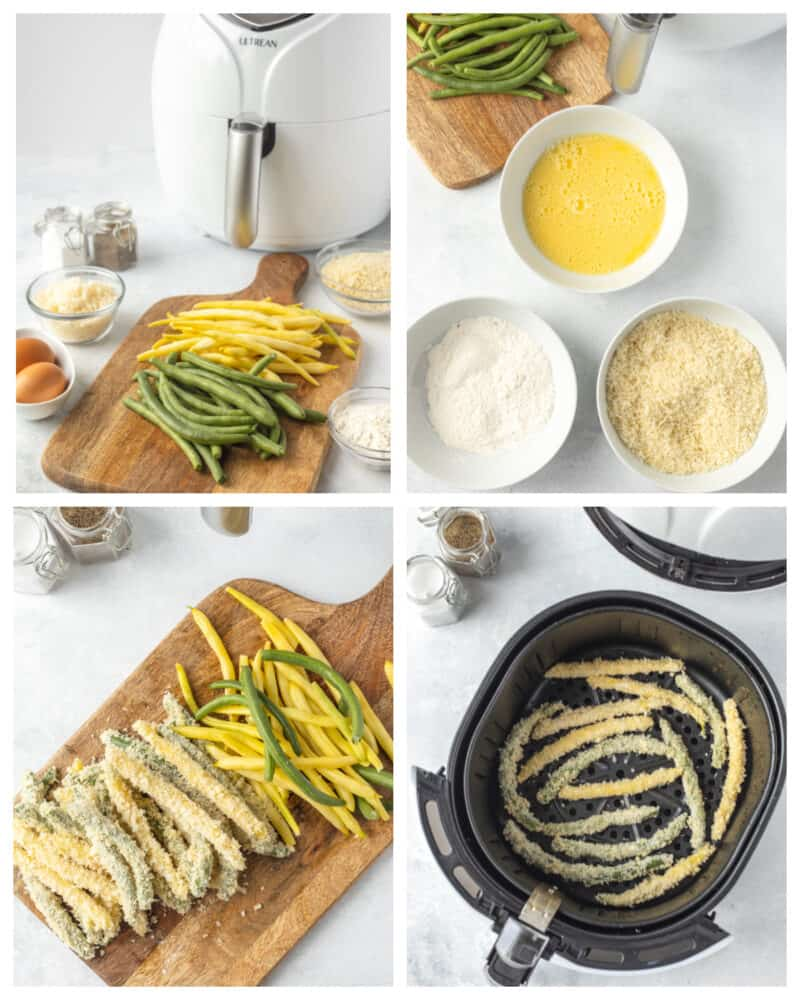 step by step instructions on how to make air fryer green beans