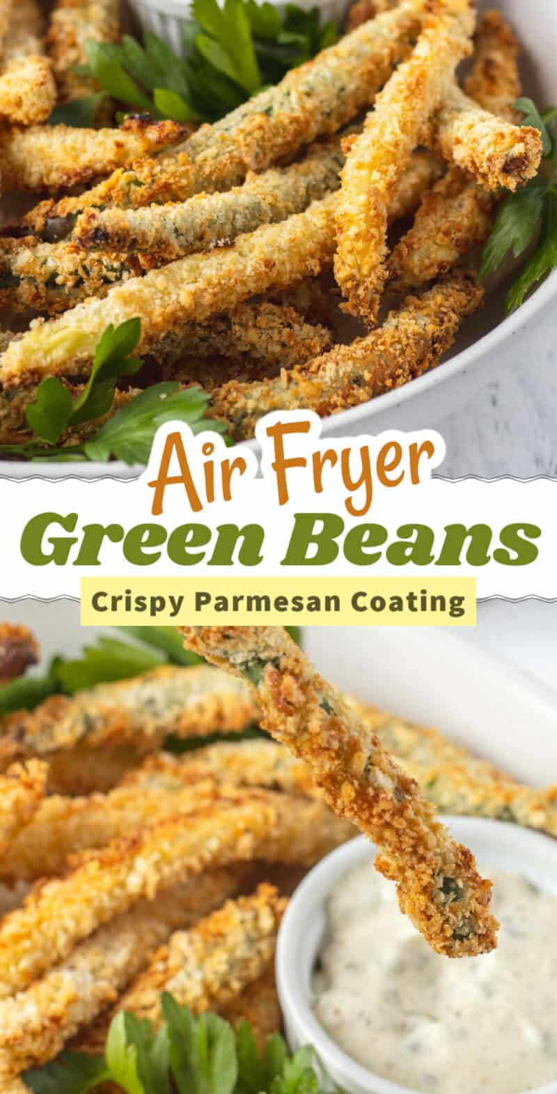 two shots of fried green beans with text