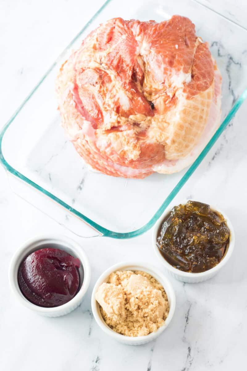 ingredients to make cranberry glazed ham