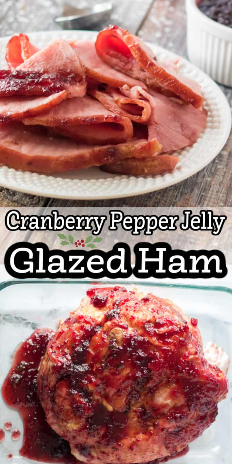 ham and slices of ham on plates with text