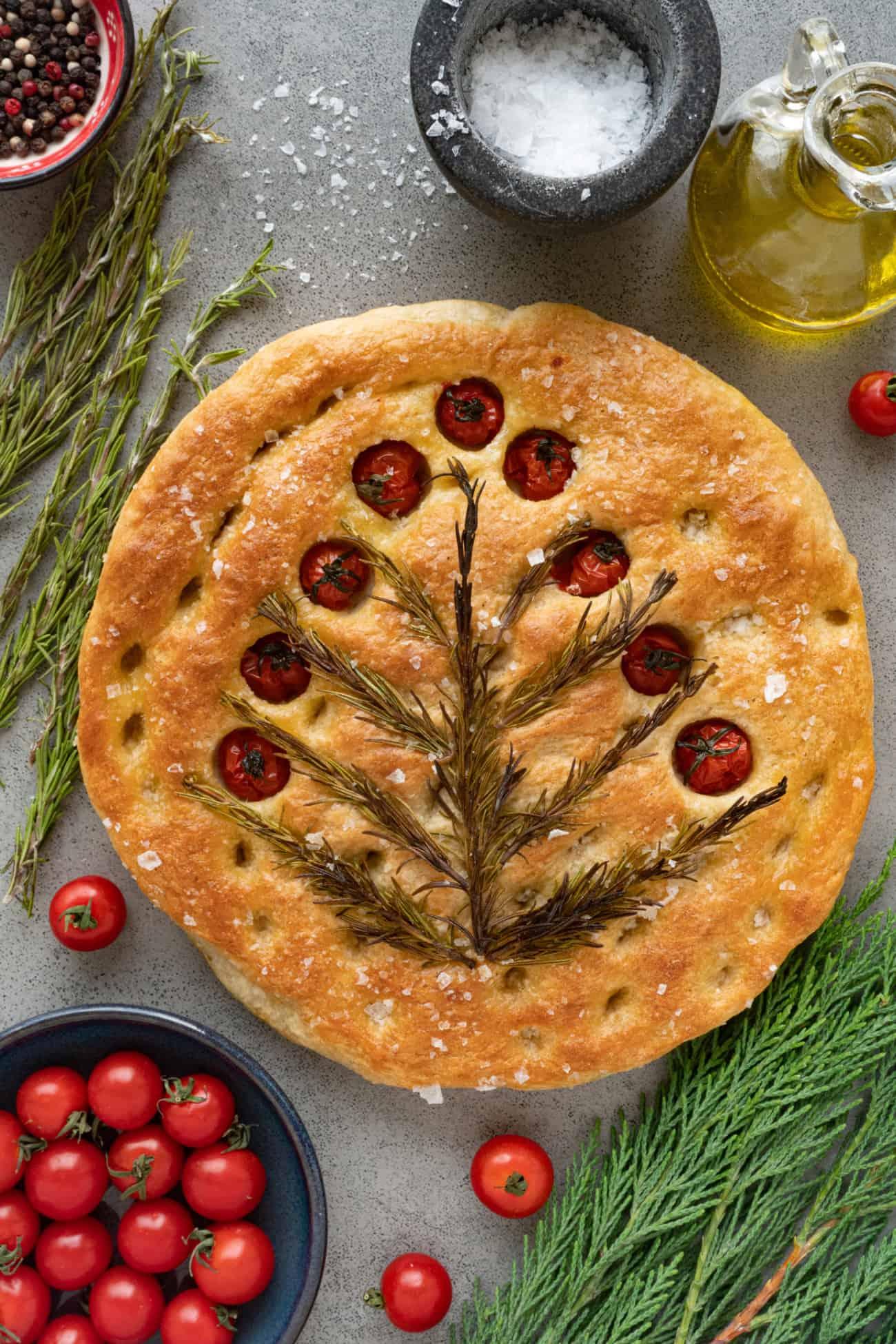 Cherry Tomato and Rosemary Focaccia Bread